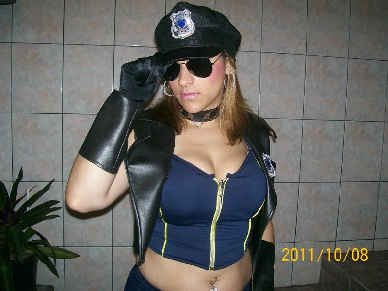 Policial shorts/colete couro
